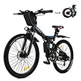 Vivi Electric Bikes for Adults 26'' Electric Mountain Bike 250W Folding Bike with Removable 8Ah Battery, Professional 21 Speed Gears, Full Shock Absorption (26in-Black)