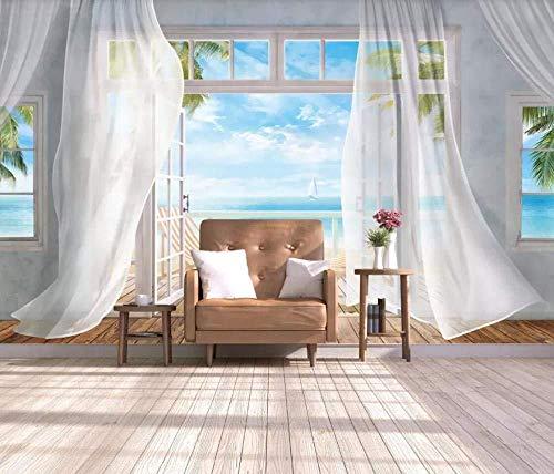 Weiße Vorhänge Mit Meerblick 3D Wallpaper Effekt Riesen Wandbilder Wanddekoration fototapete 3d Tapete effekt Vlies wandbild Schlafzimmer-400cm×280cm