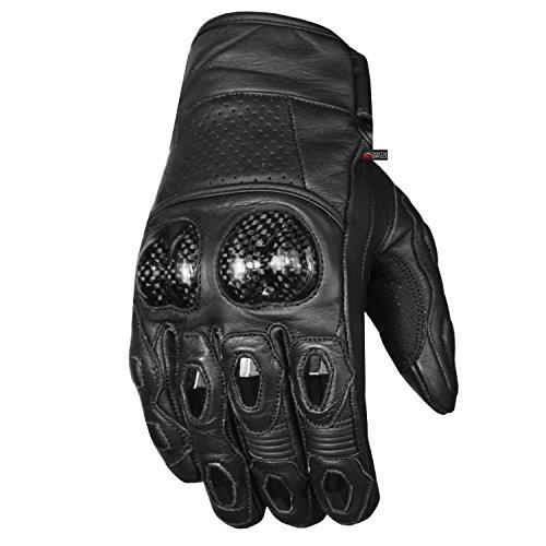 Men's Premium Leather Motorcycle Cruising Street Palm Sliders Biker Gloves M