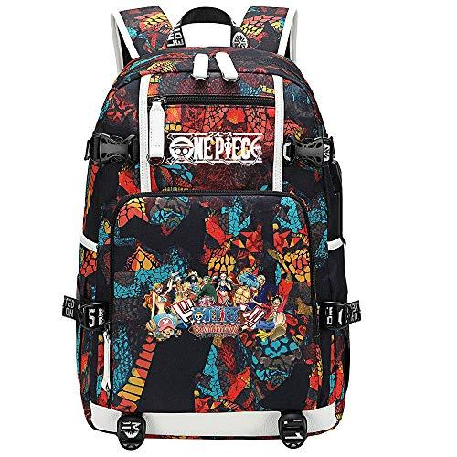 ZZGOO-LL One Piece Monkey·D·Luffy/Roronoa Zoro Anime Cosplay Bookbag College Bag Backpack School Bag with USB Charging Port-C