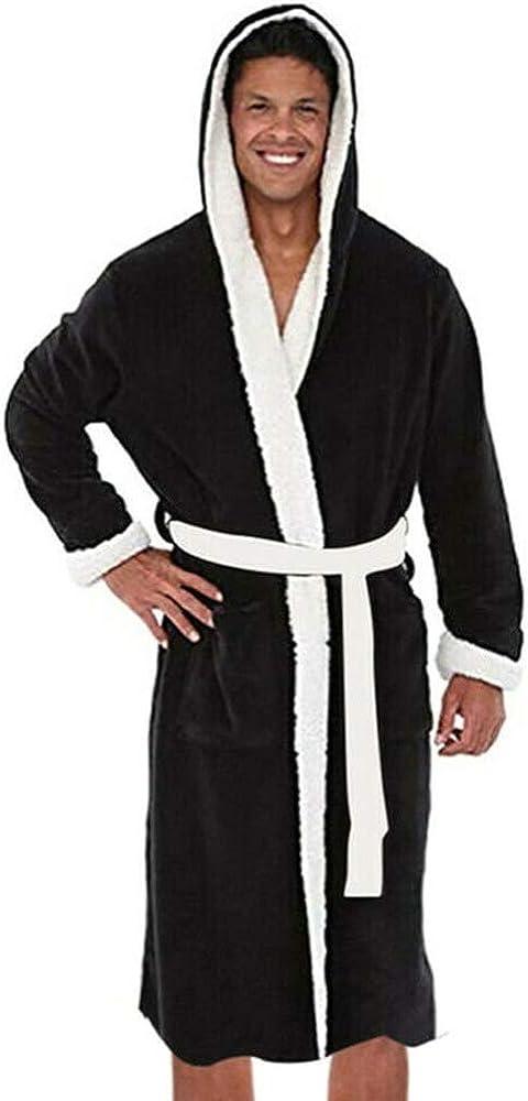 Men Hooded Bathrobe Towel Soft Cosy Lined Lounge Wear Fleece Dressing Gown Robe