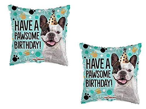 (2) 18' Boston Terrier French Bulldog Dog - Have a Pawsome Birthday Balloon - Gift Party Decoration