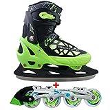 Cox Swain 2 in 1 Kinder Skates-/Schlittschuh -Blake- LED Leuchtrollen, ABEC 7 Carbon Lager, Schwarz/Grün, L (40-43)