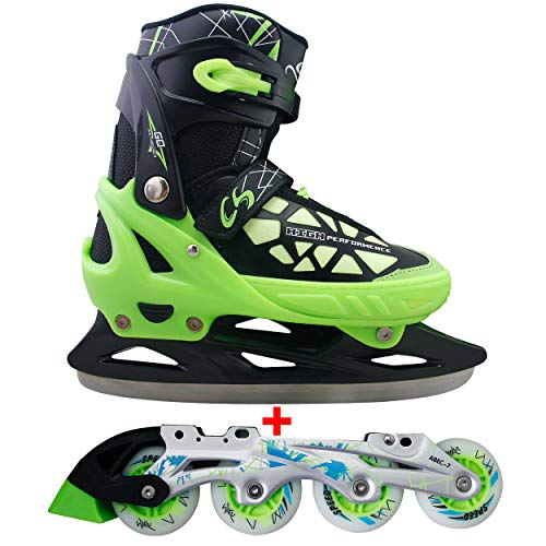 Cox Swain 2 in 1 Kinder Skates-/Schlittschuh -Blake- LED Leuchtrollen, ABEC 7 Carbon Lager, Colour: Black Green, Size: L (40-43)