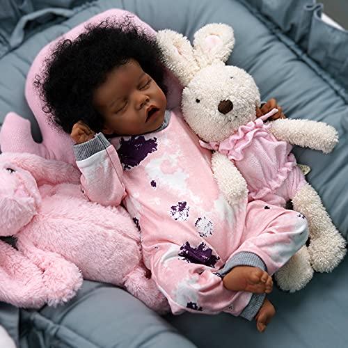 JIZHI RebornBaby Dolls 17 Inch Sleeping Afro Black African American Realistic Newborn Baby Dolls Soft Cloth Body Lifelike Dolls Gift Set for Kids Age 3+