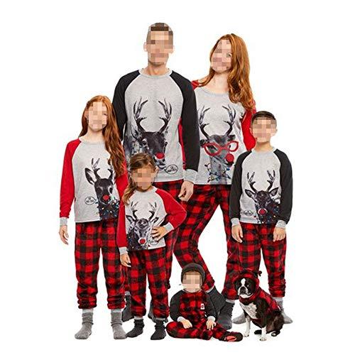 TLLW Pijamas de Navidad Familia a juego de Navidad Pijamas Conjunto Top y Pantalones Largos Ropa de Dormir Ropa de Hogar Pijamas a juego