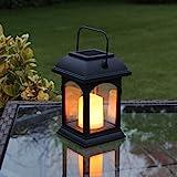 Festive Lights - Farol solar para vela con luz parpadeante LED ámbar, color negro (15 cm)