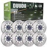 DUUDO Solar Ground Lights, Upgraded 10 LED Solar Garden Lights Outdoor Pathway Yard Waterproof in-Ground Lights, Outdoor Solar Lights (Cold White, 8 Packs)