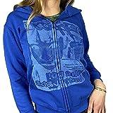 Mujer Y2K Sudadera con capucha E-Girl Zip Up Sudadera Vintage con capucha Retrato Estampado Gráfico Chaqueta con Bolsillo Manga Larga Abrigo Streetwear, B-blue Portrait Print, L