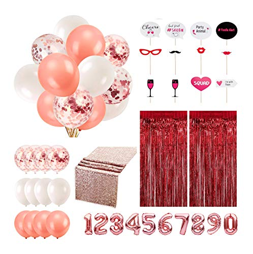 38 Piece Rose Gold Party Decorations with Table Runner, Curtains, Photo Booth Props and Balloons for Birthdays, Anniversaries and Occasions
