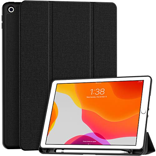 Soke New iPad 10.2 Case with Pencil Holder for iPad 9th Generation 2021 /8th Gen 2020/7th Gen 2019- Premium Shockproof Case with Soft TPU Back Cover & Auto Sleep/Wake for iPad 10.2 Inch,Black