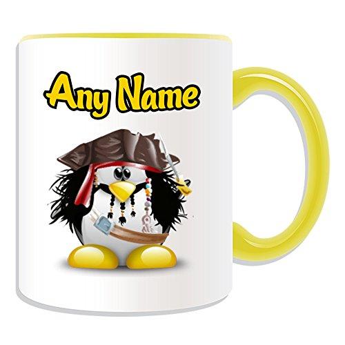 UNIGIFT gepersonaliseerd geschenk - Jack Sparrow mok (Penguin Film Character Design Thema, kleur opties) - Naam/boodschap op uw unieke - Kostuum Film Superhero Hero Pirates of the Caribbean Captain