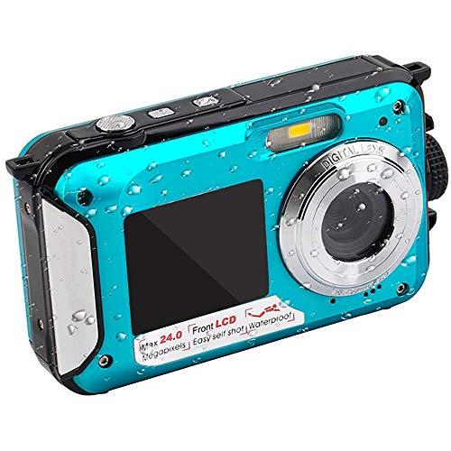 DJG Unterwasserkamera 24.0MP wasserdichte Digitalkamera Full HD 1080P Selbstauslöser Doppel-Screen-Video-Aufnahme-wasserdichte Kamera,A