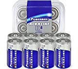 Powermax 8-Count D Cell Batteries, Ultra Long Lasting Alkaline Battery, 10-Year Shelf Life, Recloseable Packaging