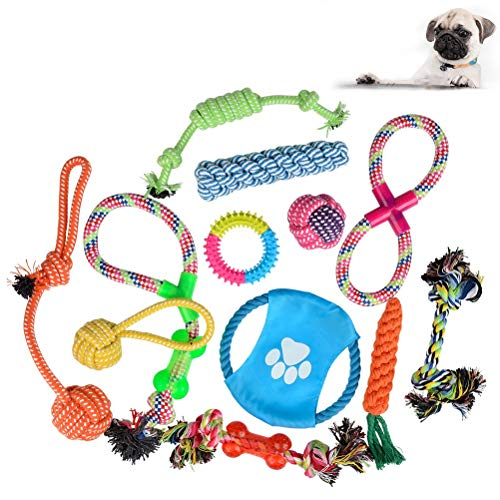 ATPWONZ Hundespielzeug 12pcs Kauspielzeug Interaktives Spielzeug Baumwollknoten Spielset Seil Spielzeug für Hunde und Welpen