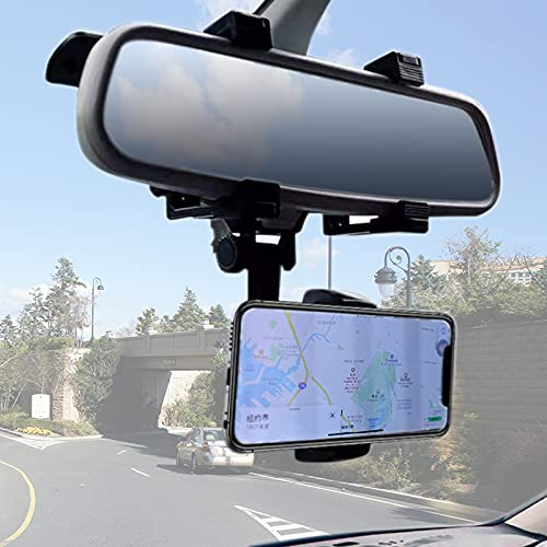 VAGURFO Rear View Mirror Phone Holder Mount, Car Phone Mount- Phone Bracket, Phone Stand with 270° Swivel and Adjustable Clips, Universal Smartphone Cradle, Black