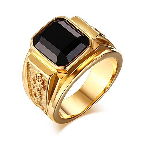 Guirui Jewelry Uomo Moderno Moda Livello Lucidato Acciaio Inossidabile Strass Modello di Drago Anelli Placcato Oro