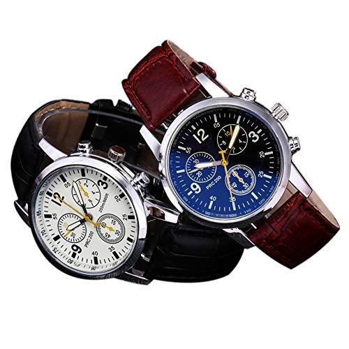 ZBBLJY Herren Armbanduhr, Quartz Waterproof Watches, Business- und Sportdesign, Edelstahlgehäuse mit verstellbarem Krokodillederarmband,V2