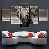 LXBHX - Cuadro para pared (5 piezas, 150 x 100 cm), diseño de elefantes, color gris