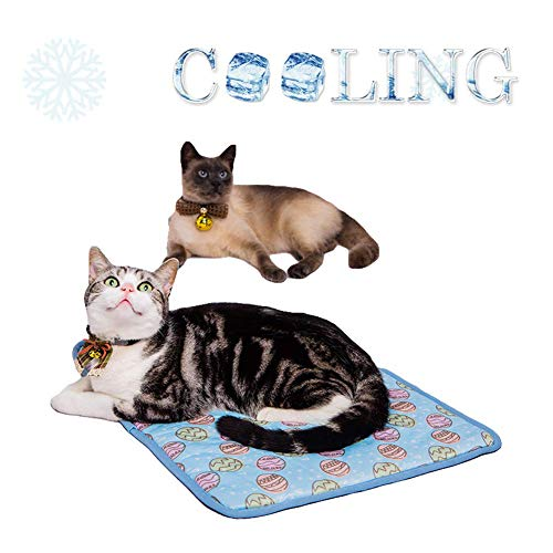 Yu-Xiang Dog Ice Pad Ice Silk Cats Kennel Easter Eggs Mat Pet Cooling Pad Summer Cool Bamboo Mat Breathable Pad (Blue, M
