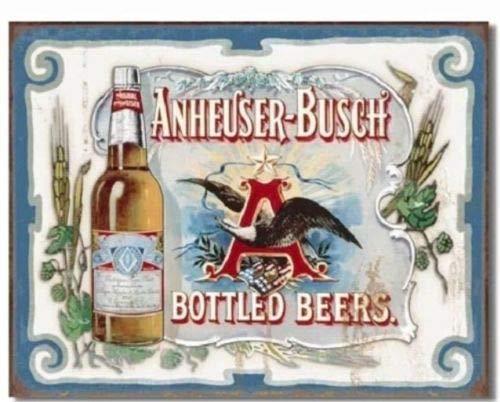ShopForAllYou Vintage Decor Signs Anheuser Busch Bud Bottled Beers Budweiser Vintage Retro Style Metal Tin Sign