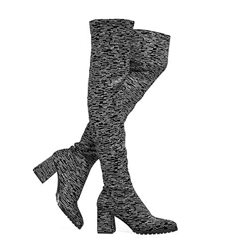Stupmary Damen Overknee High Socks Boots Chunky Blockabsatz Oberschenkel High Stretch Boots Glitzer, Schwarz (schwarz), 36 M EU