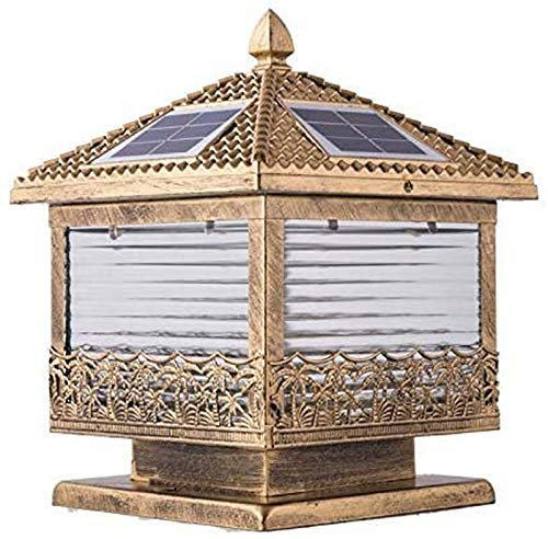 BANNAB Solar Column Headlight Fence Pillar Light Courtyard Home LED Solar Patio Balcony Lawn Light Landscape Lighting Post Lantern Garden Lamp (Size : L)