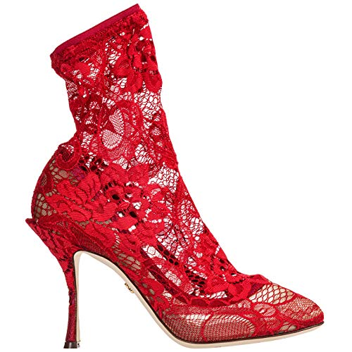 Dolce&Gabbana Women Coco Heeled Ankle Boots Rosso 9 US