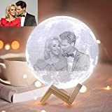 ACED Lámpara de luna personalizada con foto y texto,3 colores lampara luna impresión 3D,luz nocturna decorativas para niños de habitación,Es regalo creativo Navidad,cumpleaños,día de la madre, 7.1inch