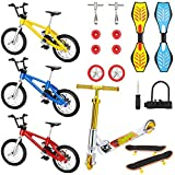 zybest Mini Finger Toys Set, Finger Scooter Bikes Roller Skates Finger Skateboards Sets with Replacement Wheels and Tools for Boys,Girls Party Favors (18 PCS)