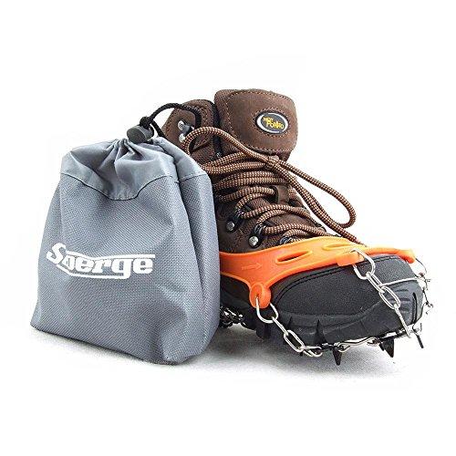Polainas 1 par 8 Dientes Garras crampones Antideslizantes Zapatos Cubierta Acero Inoxidable Cadena al Aire Libre de esquí Nieve Hielo Senderismo Escalada