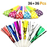HEHALI 72pcs 2 Kinds of Musical Blowouts, Colorful Paper Noisemaker and Glitter Fringed Metallic Blow Outs Whistles for Party