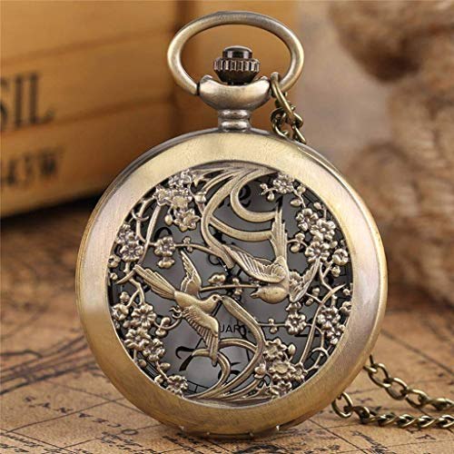 QZH Hermoso Collar de Relojes para Mujeres, señoras, Amigos, Caja de Flores, Reloj de Bolsillo de Cuarzo Fino, Reloj de enfermería, Colgante, Regalo