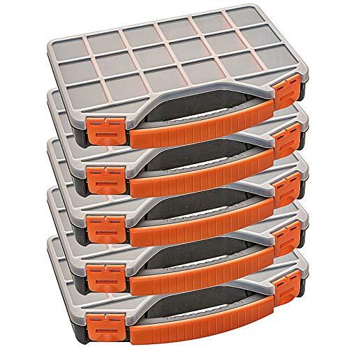 Astor24 PREMIUM 5er XXL Set Organizer Kleinteilmagazin Sortimentskasten Garnbox Sortierbox L32x B25,5 x H4,5 cm stapelbar mit 18 verstellbare Fächer (5er Set)