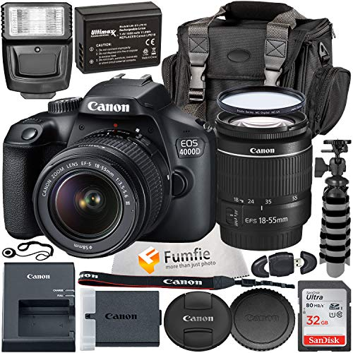 Canon EOS 4000D w/EF-S 18-55mm f/3.5-5.6 III Lens with Professional Accessory Bundle...