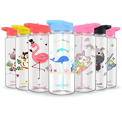 Smitave Motivational Water Bottle With Straw and Time Markings, 720ml /BPA-Free with Flip Nozzle and Leakproof - Ideal for Kids, Sports,School,Gift (Ocean)