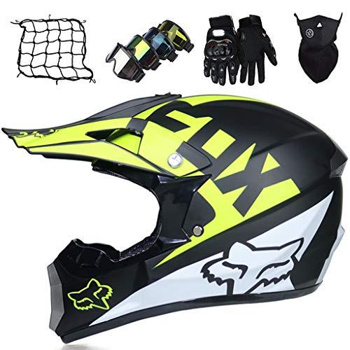 Set de Cascos de Motocross Niños, MJH-01 Casco de Moto Integrales Adultos con Gafas Guantes Máscara Bungee Net, Casco de Motocicleta Todoterreno Unisex para Downhill MTB ATV - con Diseño FOX, Negro
