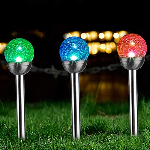 Solpex 3 Pcs Solar Garden Lights Outdoor, Color Changing & White Two LEDs, Christmas Decorative Ball Solar Lights for Patio/Lawn/Yard/Path/Landscape. (Crackled Glass)