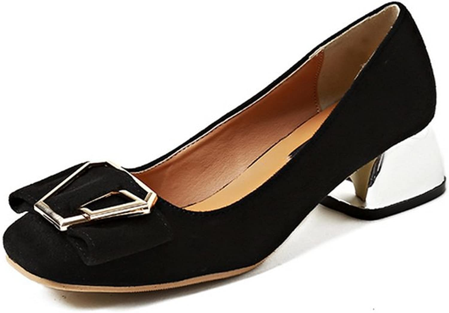 1TO9 Womens Buckle Chunky Heels Square-Toe Black Suede Pumps shoes - 5 B(M) US