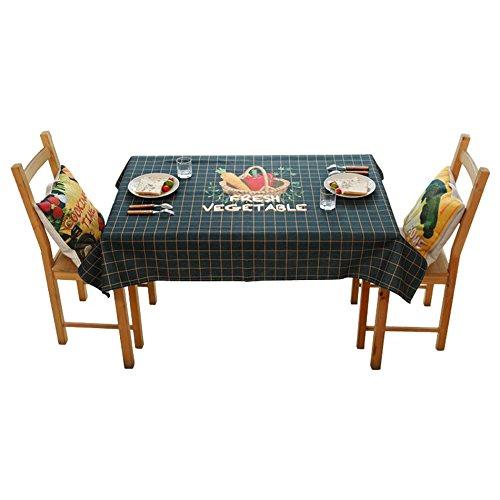 ZWL Nappe de Table Ining, Nappe Bleu Lattice Restaurant Salon Nappe Nappe Coton Et Lin Nappe Couvercle Multi-usage Longueur Tissu , Ajoutez de la vitalité à la cuisine ( taille : 140*230cm )