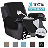 100% Waterproof Recliner Covers for Large Recliner, Seat Width Up to 30' Furniture Protector Non Slip Oversized Recliner Cover for Leather Covers (Oversize Recliner: SeatWidthUpto 30') Black