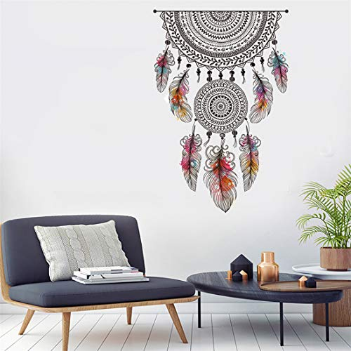 Amazon Brand - Solimo Wall Sticker for Living Room (Dream Catcher Decor ), Ideal Size on Wall: 70 x...