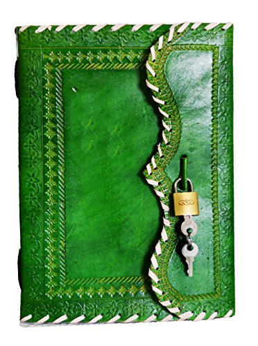 10' Leather Journal with lock Writing Pad Blank Notebook Handmade Notepad Men & Women Unlined Paper Best Present Art Sketchbook Travel Diary To Write Book Of Shadow Refillable Grimoire Green
