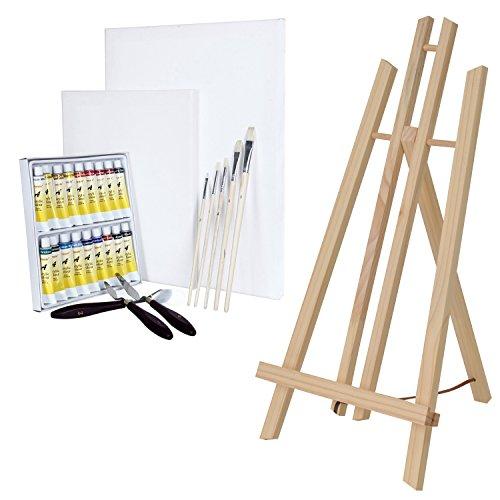 Artina London - Set de Pintura - Caballete de Pintura de Mesa de Madera de Pino, acrílicos, lienzos, Pinceles, Cuchillos