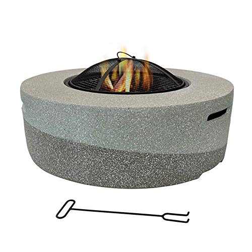Large Round Fire Pit Fire Pit with BBQ Grill Shelf Garden Patio Heater/BBQ/Ice Pit with Waterproof Cover (3 in 1Fire Pit Table & Grill),1#