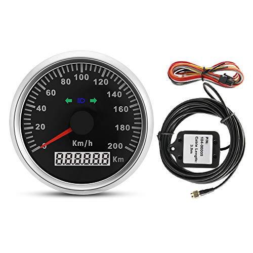 Velocímetro GPS, BiuZi 1Pc 85mm 200km/h 12V/24V Coche Camión Motocicleta GPS Velocímetro...