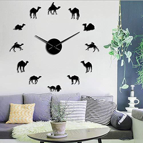 Relojes De Pared Beduino Camello Grande DIY Reloj de Pared dromedario árabe Desierto espíritu Animales hogar decoración de Arte Interior sin Marco Reloj de Pared silencioso negro-47 Inch
