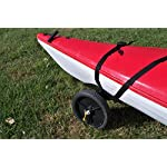"""THEKAYAKCART KC-10 Heavy Duty Canoe/Kayak Cart 16 KC-10 Heavy Duty Kayak cart has flexible cradle adapts to various hull shapes. Comes with dual strap attachments, buckles and hook. Weight capacity is 125 lbs. . Dim.16"""" x 10"""" x 11.5"""" 10""""x 2"""" puncture freewheels roll smoothly across gravel or sand. Aluminum solid axle with wheel release pins. Made of solid aluminum and co-polymer and will not rust. Made in the USA"""