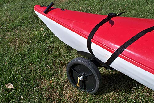"""THEKAYAKCART KC-10 Heavy Duty Canoe/Kayak Cart 8 KC-10 Heavy Duty Kayak cart has flexible cradle adapts to various hull shapes. Comes with dual strap attachments, buckles and hook. Weight capacity is 125 lbs. . Dim.16"""" x 10"""" x 11.5"""" 10""""x 2"""" puncture freewheels roll smoothly across gravel or sand. Aluminum solid axle with wheel release pins. Made of solid aluminum and co-polymer and will not rust. Made in the USA"""