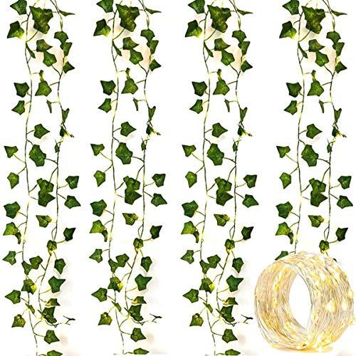 OYYXNN 4er Pack 2M 20 LED Lichterketten Künstliche Efeu Gefälschte Girlande Grüne Blattpflanzen Wein Lichterketten Halloween Weihnachtsbäume Gartenhof Home Patio Hochzeitsfeier Schlafzimmer Dekor